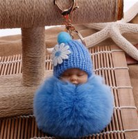 Wholesale baby boy girl pendant resale online - New Cute Baby Fur Key Chain Bag Car Cartoon Plush Doll Pendant For Kids Women Hat Decal