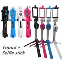 selbststichhalter großhandel-Universal Android / IOS Telefon klappbar erweiterbar selfie stick selfie stativ bluetooth + halter + bluetooth fernbedienung set