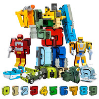 Wholesale number block toy for sale - Group buy 10pcs Creative Assembling Educational Blocks Action Figure Number Transformation Robot Deform Plane Car Gift Toys For Children MX190730