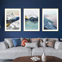 Wholesale abstract art painting china resale online - Mountain Lake Abstract Canvas Painting Wall Art Picture Poster New China Landscape Picture Print Living Room Decoration