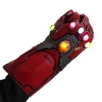 armadura led venda por atacado-Luvas LED Endgame Iron Man Gauntlet Thanos Infinito Gauntlet Homem de Ferro Nano armadura Tony Stark Cosplay Props