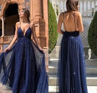 arabische linie prom kleider großhandel-Prickelnde Marine-Blau 2019 Abendkleider mit tiefem V-Ausschnitt Backless Sequins A-Line Arabisch Dubai formale Abend-Partei-Kleider Customized robe de Soiree