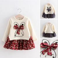 kış bebek kız çiçek elbiseleri toptan satış-Sevimli tavşan kız elbise baskılı çiçek uzun kollu elbiseler sonbahar kış bebek kız prenses elbise çocuk giyim
