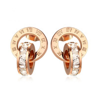 Wholesale stainless steel rings for women gemstones resale online - Rose Gold Color Fashion Simple Lady s Ring Tassel Earrings Stainless Steel Gemstone Earrings Jewelry Gift for Women Lady J155
