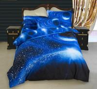 königsgröße royal blau bettwäsche gesetzt großhandel-Bettwäsche-Sets Bettbezug-Set 2/3/4-tlg. Nebula Starry 3d Print Bettbezug Bettwäsche Kissenbezug Bettwäsche Single Twin Double Queen Kin