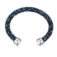 ingrosso braccialetto fatto di swarovski-Realizzati con cristalli di Swarovski Elements Rolled braccialetto delle donne del polsino del braccialetto monili femminili Bijoux regalo di Natale Rocks