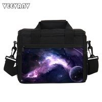 Wholesale insulated purple lunch bag resale online - Galaxy Lunch Bag for Boys School Picnic Lunch Box Children Insulated Storage Container Bag Starry Sky Printing Handbag