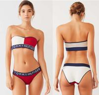 nuevo traje de baño verano sin tirantes al por mayor-Parchwork Mujer Triángulo Bikini Establece Verano Sexy Sin Tirantes Mujeres traje de baño Nueva Ropa de Playa Bikini Para Mujeres