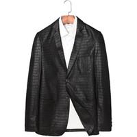 hakiki deri timsah baskısı toptan satış-2019 Bahar Yeni Gerçek Deri Ceket Slim Fit Suit Stil Erkekler Hakiki Deri Ceket Moda Timsah Baskı Giyim