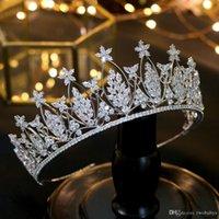 короны принцессы оптовых-Благородная Красота Принцесса Тиара Кубический Циркон Свадебная Корона Горный Хрусталь Конкурс Корона Для Невесты Повязки