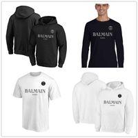 das lange schwarze t-shirt der männer großhandel-2019 New B Almain Herren Designer-T-Shirts Schwarz Weiß Paare Pullover PSG Langarm-Marken-Kleidung Fans Tops Tees Short Shirts gedruckt Logos