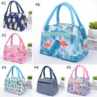 sacos para crianças venda por atacado-6 Estilo Portátil Flamingo Unicorn Lunch Bag Sacos de Isolamento Térmico de Viagem De Piquenique Alimentos caixa de almoço saco para Mulheres Meninas Crianças Adultos B