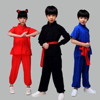 Wholesale uniform kungfu clothing for sale - Group buy New Design Children Chinese Kungfu Martial Arts Uniform Boys Girls Color Wushu Costumes Tai Chi Clothes Set