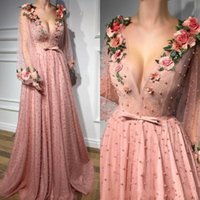 Wholesale girl pearl collar princess dress for sale - Group buy Vintage Princess Pink Long Sleeves Prom Dresses Long Deep V Neck Beading Illusion Flowers Girl Pageant Party Gowns Pearls Custom Made