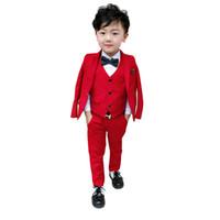 drei stück jungen kleid anzüge großhandel-Herbst Jungen Brosche Anzug Kinder Performance Dress Suit dreiteilige Baby Boy Suits