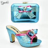 дамы соответствующие туфли туфли оптовых-Graceful party set matching slip-on high heel shoes and clutch handbag set for lady 636-2 in blue, heel height 11cm