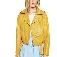 veste en cuir jaune dames achat en gros de-Vestes col de la mode des femmes noir rose jaune vêtements en cuir slim moto veste en cuir lady survêtement manteaux