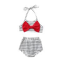 roupa de banho da bandeira dos eua venda por atacado-Verão Meninas Listrado Swimwear Bandeira Americana Independência Dia Nacional EUA 4 De Julho Estilingue Preto Branco Listrado Arco Criança Surf Swimsuit Terno