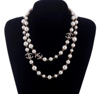 Wholesale silver chains flower heart pendants resale online - New Long Sweater Chain Collar Maxi Necklace Simulated Pearl Flowers Necklace Women Fashion Jewelry Bijoux Femme Christmas Gifts