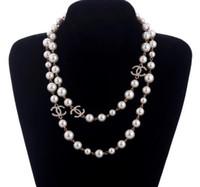 collares de las mujeres al por mayor-Nuevo Collar de Cadena Suéter Largo Collar Maxi Collar de Flores de Perla Simulada Joyería de Moda de Mujer Bijoux Femme Regalos de Navidad