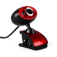 tableta de alta definición al por mayor-Cámara web con clip de alta definición HD 16 millones de píxeles de cámara web USB con micrófono para PC Computadora portátil Tablet Negro Rojo
