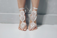 Wholesale toe anklet beach resale online - 2020 Exquisite Ivory Sequin Wedding Barefoot sandals Anklet Bridesmaid gift Beach Bridal Shoes Swarovski Crystal Cheap In Stock