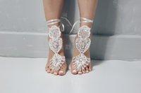 zapatos de vestir de color morado oscuro al por mayor-2020 zapatos de la playa de novia de regalo exquisito de Marfil lentejuelas boda sandalias descalzas Tobillera dama de cristal Swarovski baratos En Stock