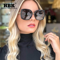 big framed glasses retro großhandel-HBK 2019 Klassische Übergroße Quadratische Sonnenbrille Damenmode Marke Retro Vintage Sonnenbrille Männer Sunnies Big Frame Eyewear UV400