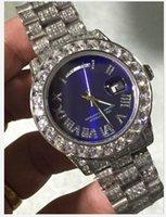 bracelets de diamant bleu achat en gros de-NOUVEAU Top Montre Bleu 41mm JOUR DATE Diamant Cadran Romain Platine Diamant Complet Bracelet 2813 Mécanique Automatique Hommes Montres