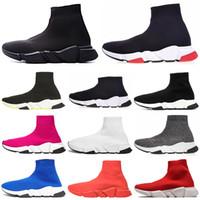 zapatos con brillo rojo al por mayor-Diseñador de calcetines zapatos Speed Trainer Hombres Botas de Mujer Triple Negro Blanco Rojo Azul Zapatos para correr Sock Race Runners Deportes Zapatos de lujo 36-45