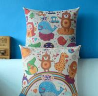 sevimli yastık kılıfları toptan satış-Keten yastık kılıfı 43 * 43 Dekoratif Hayvan Parti Minder Kapak Pamuk Keten Sevimli Çekyat Yastık Kılıfı Kare Yastık Kapak KKA7019