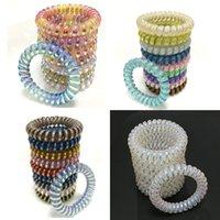 renkli lastik bantlar toptan satış-Renkli Elastik Kızlar Kadınlar Kauçuk Bobin Saç Kravatlar Spiral Şekli Saç Halka Bantları At Kuyruğu Sahipleri Aksesuarları