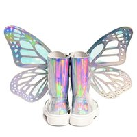 пятно украшения оптовых-Bling Bling Women Round Toe Big Butterfly Decoration Middle Boots Spring Winter Low Heel Side Zipper Booties High Quality