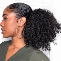 hairpiece für ponytail groihandel-Afro culry Pferdeschwanz Versaute Curly Brötchen billig Haar Chignon Haarteil synthetischer Clip in Bun für schwarze Frauen