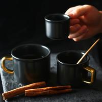 tazas de cafe de ceramica negra al por mayor-Nuevos Vasos Taza de café tazas de cerámica cerveza tazas de café leche mate Negro Agua Potable 80 ml 150 ml 250 ml 425 ml Copa HH9-2211