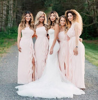 Wholesale one shoulder red sheath dress for sale - Group buy 2020 pink One Shoulder Bridesmaid Dresses ruched Chiffon Floor Length Flowy side split custom made Wedding Guest Dresses maid of honor gown