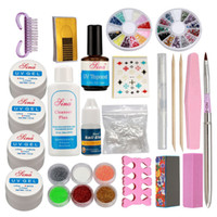 ingrosso kit inchiostro francese in polvere acrilica-all'ingrosso Pro Acrilico Glitter Nail Art Powder Glue File French Gel UV Tips Set Kit Kit di unghie finte