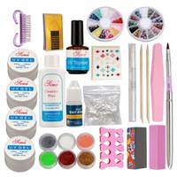kits de uñas de acrílico en polvo francés al por mayor-Venta al por mayor Pro Acrylic Glitter Nail Art Powder Glue File French UV Gel Tips Set Kit Kit de uñas postizas