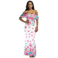 afrikanische drucke meerjungfrau kleider großhandel-Frauen Kalte Schulter Langes Kleid Blumendruck Strand Boho Maxi Kleid Blau / Rosa Elegante Afrikanische Dashiki Sommerkleid 2019 Vestidos