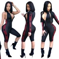 ingrosso sottili bodysuits-Fitness Set completo tuta + giacca Fashion Designer 2018 Autunno Backless Slim Pagliaccetti Sexy Body donna con zip e giacca Set completo C19021601