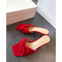 Wholesale women sexy booties online - Newest Women leather bottom Suede slippers fashion square toe Bow Outdoor slippers spring summer low heel sexy sandals size35