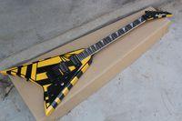 Wholesale fingerboard rosewood inlay resale online - Flying V Electric guitar MOP Fingerboard inlay Floyd Rose Tremolo Black Pinstripe