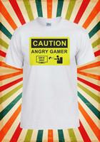 nuevos juegos de tanques al por mayor-Precaución Angry Gamer Juego sobre hombres Mujeres Chaleco Tank Top Unisex Camiseta Tamaño Discout Hot New Tshirt Funny 100% Cotton T Shirt