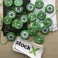 stock aufkleber großhandel-2019 Auf Lager X OG QR Code Aufkleber Green Circular Tag Plastikschuhschnalle StockX Verified X Authentic Green Tag