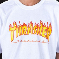 mens cool casual gömlekler toptan satış-Trasher Tee S XXL Toptan Dergisi Alev Logosu T-Shirt Mens Womens Tee Tasarım T Shirt Casual Serin Yaz Serin Komik Tişört Tops