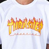 chemises décontractées pour hommes achat en gros de-Trasher Tee S à XXL Vente en gros Magazine T-shirt Logo Flame Mens Womens Tee Design T-shirts Tops Décontractés Frais Été Cool Drôle