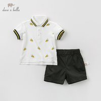 Wholesale banana baby clothing resale online - DB9964 dave bella summer baby boys fashion clothing sets casual short sleeve suits children banana print clothes T200413
