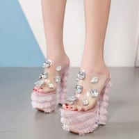 chaussures talons hauts strass rose achat en gros de-17 cm talons hauts pantoufles club nuit sexy pole dance chaussures plate-forme femmes chaussures Slip-On mode strass Sandales 4401