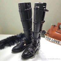 schwarze stiefel strasssteine groihandel-Schwarz Sandalen Promi-Designer-Schuhe Luxus-runde Zehe-Schenkel-hohe Stiefel Schnalle Chunky Heel-Band-Dame-Partei Strass Schuhe Frau