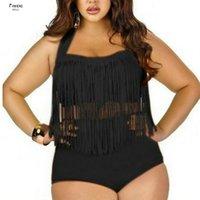 biquíni grande conjunto venda por atacado-Sexy Tassel Bikini alta Set Grande Plus Size 3XL Halter Tanikini Bikini Swimwear Balneares Swim Suit